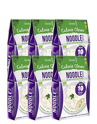 6 x Slendier Tagliatelle konjac biologiche, stile noodle, ipocaloriche, shirataki, fonte di fibre, senza glutine 6 x 250 g