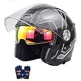 〔正規品〕 Criss SOMAN バイクヘルメット ジェットヘルメット システムヘルメット SM519-S 半帽ヘルメット 軽便 通気 パイロット シールド サンバイザー付き 男女兼用 新入荷カラー カッコいいヘルメット 防風防雨メット おしゃれなバイクヘルメット D.O.T認定 手袋は無料でサービスします (B5, XL頭囲(52-53CM))