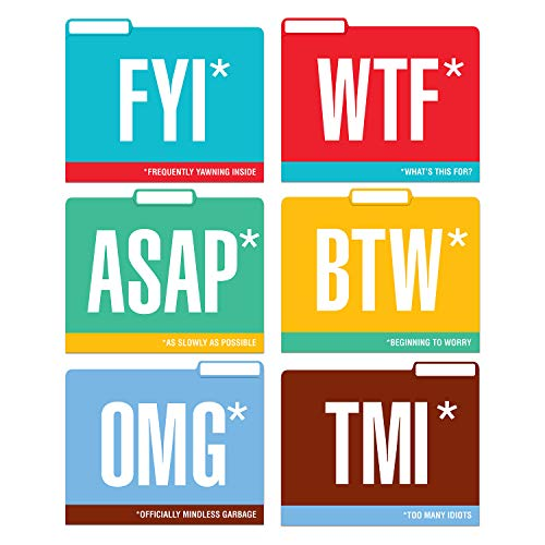 Knock Knock Honest Acronyms File Folders Set, Funny Cubicle D�cor (Set of 6, 11.5 x 9-inches)