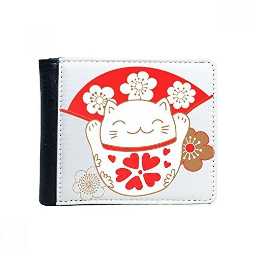 Cherry Blossoms grasa Lucky Fortuna Gato ventilador Japón cultura funda Bifold cartera de piel sintética multifunción tarjeta Monedero Regalo