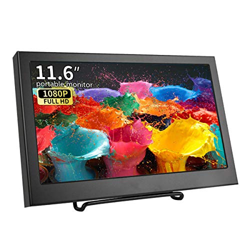 11,6 Zoll VGA Tragbarer Monitor Full HD 1920 * 1080 IPS Bildschirm mit VGA/HDMI/Eingebauter Lautsprecher/Audio-Eingang LCD/LED Metallgehäuse Display für PS3 PS4 Xbox360 PC Raspberry Pi, Kenowa