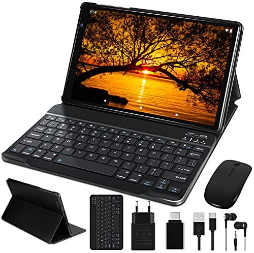 FACETEL Tablet 10 Pollici Android 10.0 Otto core Tablets con 4GB RAM 64GB ROM Espanso 128GB, Tablets PC con Tastiera e Mouse, 5.0+8.0 MP Telecamera, Certificato Google GMS, Wifi, Bluetooth, FM - Nero
