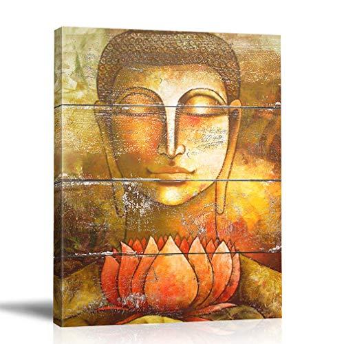 BOLUO Buddha Wall Art Framed Zen Paintings For Living Room Lotus Flower Print Painting Yoga Room Decor 12'x16' (Buddha)