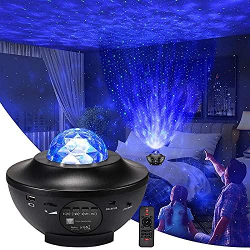DIQC Lampada Proiettore Stelle, Luce Notturna a LED con Altoparlante Bluetooth Musicale Telecomando e Cavo USB, per Bambini Adulti Regalo Decorazioni