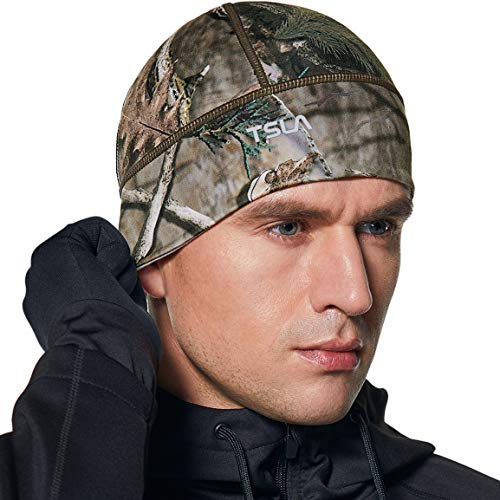 TSLA Men and Women Thermal Fleece Lined Skull Cap, Winter Ski Cycling Cap Under Helmet Liner, Cold Weather Running Beanie Hat, Skull Cap(yzc04) - Hunting Camo, One Size