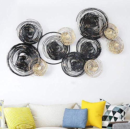Manual 3D Stereo Wall Decor Outdoor Indoor Hanging Sculpture, Black Gold Frame, Metal Circle, Wall Art for Home, Bedroom, Living Room, Office, Garden 145 x 86cm / 57'x33