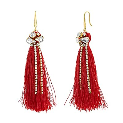 CATHERINE MALANDRINO Rhinestone Fringe Tassel Yellow Gold-Tone Dangle Earrings for Women (Red)