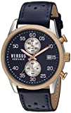 Versus by Versace Men's Shoreditch Stainless Steel Quartz Watch with Leather Calfskin Strap, Blue, 22 (Model: S66080016)