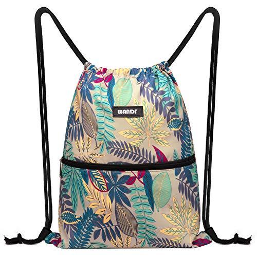 WANDF Turnbeutel Sportbeutel Gym Bag Mit Aussentasche Verstellbar Tunnelzug Gym Sack Rucksack für Damen Herren Kinder (B - graue Blätter)