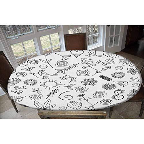 Mantel ajustable de poliéster elástico, con diseño de pájaros y flores, fresas, girasoles, helechos y helechos decorativos, ovalados, elásticos, para mesas de hasta 122 cm de ancho x 172 cm de largo.