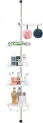シャワーキャディ 一定のテンションコーナーシャワーキャディ 4段の配置可能な棚 防錆 強くて頑丈 高さ調節可能 3.6~10.1フィート