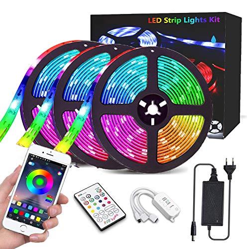 Rgb LED Strip, 15M LED Streifen, CGN LED Stripes steuerbar via App bluetooth, 5050SMD 450 Leds Bänder Sync mit Musik, TV Hintergrundbeleuchtung Band Lichtband mit Fernbedienung Full Kit 3x5M