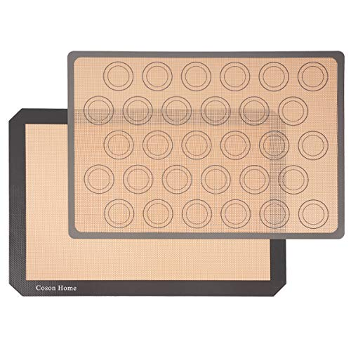 Coson Home Silicone Baking Mat Macaron Mat Sheet, Pro Non-Stick Reusable Sheet Food Safe Tray Pan Liners Set of 2, 11.6x16.5 inches (LxW)
