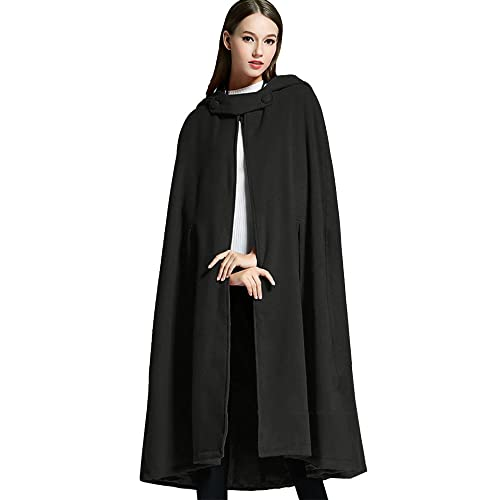 3a0d4006f66 Sheicon Women Batwing Cape Wool Poncho Jacket Warm Cloak Coat with Hood  (One Size