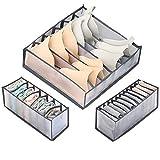 JoyPlus Cassetto Organizer per Biancheria Intima,Pieghevole Divisore per Cassetti,Organizzatore per Slip Calzini Reggiseni Cravatte, Set di 3 (Grigio)