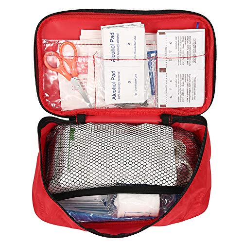 BY Erste Hilfe Kasten für zu Hause, Büro oder Auto, 180-teiliges Erste Hilfe Set, 30-Type Verbandkasten rot 22 * 14 * 8CM