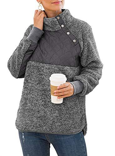VIISHOW Women's Warm Long Sleeves Oblique Button Neck Splice Geometric Pattern Fleece Pullover Coat Sweatshirts Outwear with Pocket Dark Gray Large