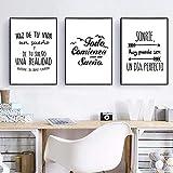 WAFENGNGAI Cartel de cita positiva en español, decoración moderna, pintura interior, imagen artística de pared en blanco y negro para sala de estar, decoración del hogar-40X60Cmx3 sin marco