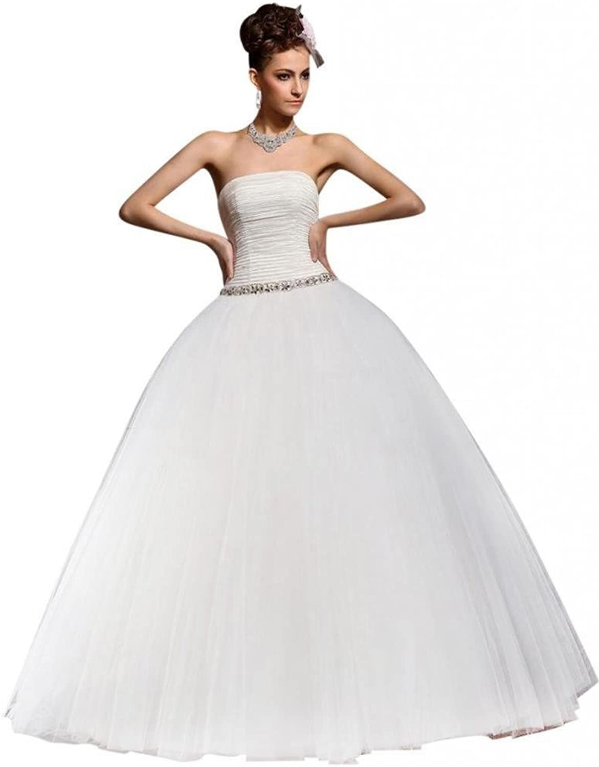 Dearta Women's Ball Gown Strapless FloorLength Tulle Wedding Dresses