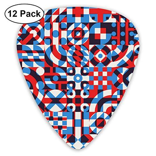 Gitaar Pick Rood-blauw Onregelmatige Geometrische Blok Driehoek 12 Stuk Gitaar Paddle Set Gemaakt Van Milieubescherming ABS Materiaal, Geschikt voor Gitaren, Quads, Etc