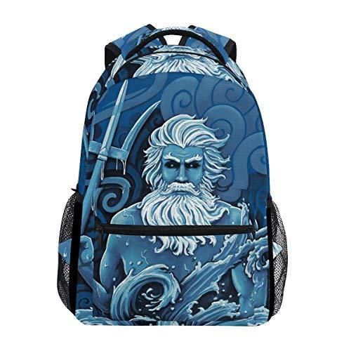 Stilvoll Poseidon Neptun Griechisch Rucksack-Leichte School College Reisetaschen 16 X 11,5 X 8 Zoll