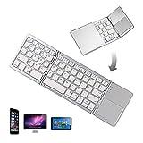 折りたたみ式 Bluetoothキーボード タッチパッド搭載 超薄い型 ミニキーボードWindows、Android、iOS 、Mac (銀)