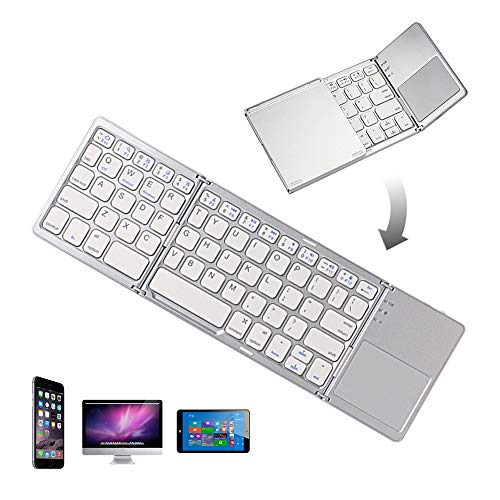 Vapechaser Teclado plegable con Bluetooth, inalámbrico, portátil, teclado Bluetooth táctil, para iPhone, iPad Air, iPad Mini, iPad Pro, Windows, iOS, Android (blanco y plata)