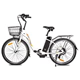 "ECOTRIC Electric City Bike 26"" City Powerful Bicycle EBike 350W Motor 36V/10AH Moped (White) - Throttle & Pedal Assist; You Will Receive Two Packages"