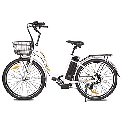 """ECOTRIC Electric City Bike 26"""" City Powerful Bicycle EBike 350W Motor 36V/10AH Moped (White) - Throttle & Pedal Assist; You Will Receive Two Packages"""