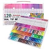 Rotuladores de punta doble para colorear libros, caligrafía, suministros de arte, color 120 colours white body
