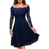 Miusol Vintage Encaje Floral Coctel Vestido Corta para Mujer Azul XX-Large