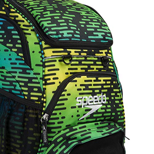 Speedo Unisex's Teamster' Backpack, Black/Blue/Green/Yellow Print, One Size