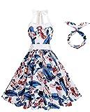 BI.TENCON Women's 50s Vintage Rockabilly Halter Neck Dress Swing Tea Dress Party Cocktail Gown Navy White Floral Prints Plus Size 2XL