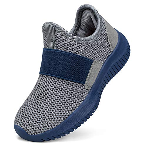 Troadlop Boys Sneakers Breathable Outdoor Tennis for Kids Athletic Shoes Size 9.5 M US Toddler Grey/Blue