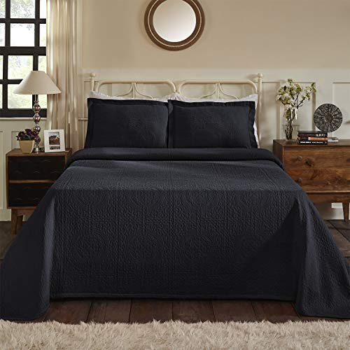 SUPERIOR 100% Cotton Fleur De Lis Matelasse Twin Bedspread, Navy Blue