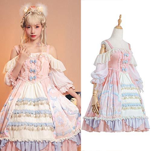 Rubyonly Palacio de la Princesa del Vestido Lolita Dulce Retro Falbala de Encaje Bowknot impresión de Alta Cintura del Vestido Victoriano Chica Kawaii Lolita jsk,M