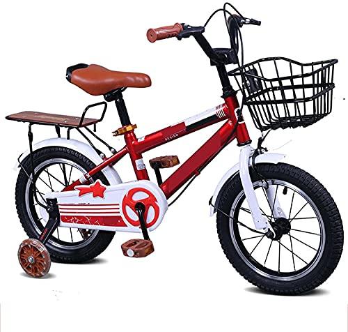 HUAQINEI Bicicleta para niños Niños y niñas 3-8 años Freestyle BMX 12 14 16 Bicicleta de Rueda Flash de 18 Pulgadas Bicicleta para niños, 14