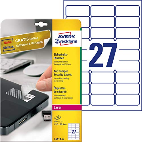 Price comparison product image Avery Zweckform L6114-20 Anti-Tamper Security Labels 20 Sheets / 540 Labels / 63.5 x 29.6 mm White