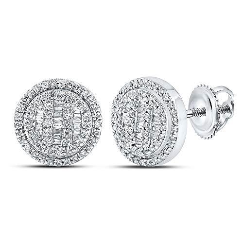 Diamond2Deal Pendientes de oro blanco de 10 quilates para hombre, diseño de disco de diamante de 1/2 quilates