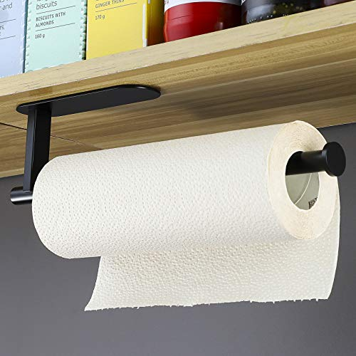 YIGII Küchenrollenhalter Schwarz - Papierrollenhalter Edelstahl Küchenpapierhalter Wand Rollenhalter Selbstklebend ohne Bohren