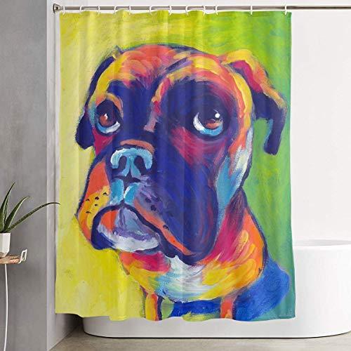 N/A Animal Boxer H& Wasserdichter Polyester-Duschvorhang mit Haken, 152,4 x 182,9 cm (B x H)