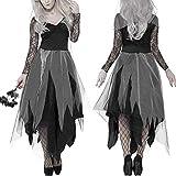 TaoToa Disfraz de Halloween para mujer, vestido de cementerio, novia, cadáver, encaje negro, cosplay, fiesta, XL
