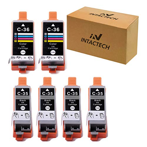 Intactech Compatible with Canon PGI-35 & CLI-36 Pixma iP110 iP100 Ink Cartridges (4 Black / 2 Color, 6 Pack) Color Set Use for Canon PIXMA iP110 iP100 mini260 mini320 TR150 Printer