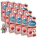 [ 12 x 1 Liter ] RUBICON Lychee Fruit Drink/Litschi Fruchtsaftgetränk DELUXE + ein kleines Glückspüppchen - Holzpüppchen