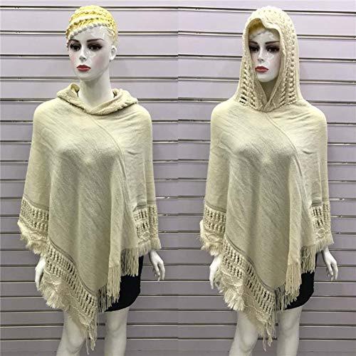 SOROPTLE Damen Pullover Acryl Herbst und Winter mit Kapuze Poncho ärmellos einfarbig Schal Damen Pullover Damen Kleidung