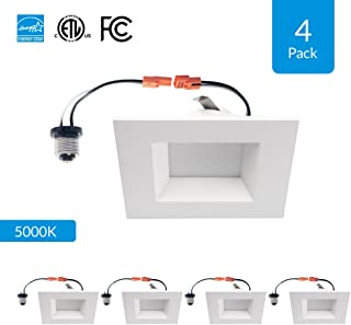 """4-Pack 6-inch Dimmable LED Square Downlights, 12W Retrofit (Replace 100W), 5000K (Day Light), CRI 90+ [High CRI], 6"""" Square Design, 950 Lumens, cETLus, Energy Star & FCC Approved"""