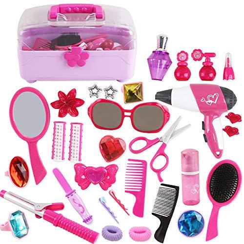deAO 34-teiliges Friseur- und Glamour Prunkvoller Tragekoffer Spielset mit vorgetäuschtem Make-up Zubehör, vorgetäuschtem Schmuck, Spielzeug-Lockenstab und Spielzeug-Haartrockner inklusive
