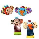 SKK Baby 4 hochets animaux pour poignets et ensemble de chaussettes jouets de développement cadeau pour bébés garçon fille