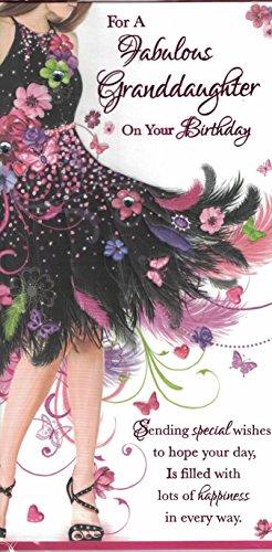 Kleindochter Verjaardagskaart ~ Voor een fantastische kleindochter op je verjaardag ~ Vlinder Feestjurk Slim Card