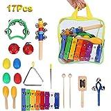 17pcs Juego Instrumentos Musicales de Percusión para Niños Juguetes de Xilófono Juguetes Educativos Juego de Banda Rítmica con Bolsa de Almacenamiento
